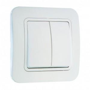 Выключатель 2-клавишный проходной Makel Lilium белый 70026