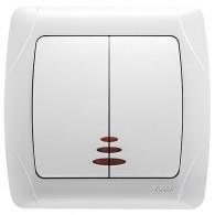 Выключатель 2-клавишный с подсветкой Viko Carmen белый 90561050