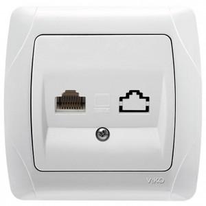 Розетка компьютерная 1хRJ45 категория 5E - UTP гнездо Viko Carmen белый 90561032