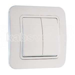 Выключатель 2-клавишный Makel Lilium белый 70003