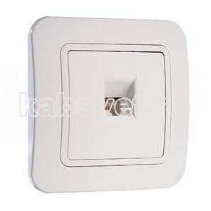 Розетка телефонная TF 1хRJ11 (ЕВРО) Makel Lilium белый 71014