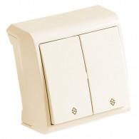 Выключатель накладной 2 клавиши проходной Viko Vera крем 90681217