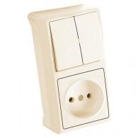 Блок накладной вертикальный: выключатель 2 клавиши + розетка Viko Vera крем 90681289