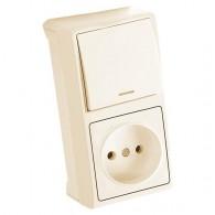 Блок накладной вертикальный: выключатель 1 клавиша с подсветкой   розетка Viko Vera крем 90681290