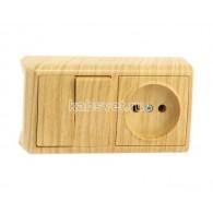 Блок накладной горизонтальный: выключатель 2 клавиши + розетка Viko Vera дуб 90682189