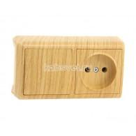 Блок накладной горизонтальный: выключатель 1 клавиша + розетка Viko Vera дуб 90682186