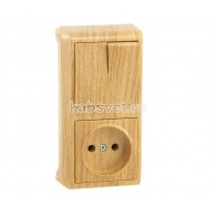 Блок накладной вертикальный: выключатель 2 клавиши + розетка Viko Vera дуб 90682089
