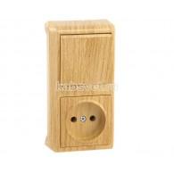 Блок накладной вертикальный: выключатель 1 клавиша + розетка Viko Vera дуб 90682086