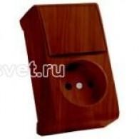 Блок накладной вертикальный: выключатель 1 клавиша + розетка Viko Vera махагон 90682286