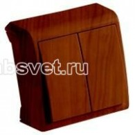 Выключатель накладной 2 клавиши Viko Vera махагон 90682202