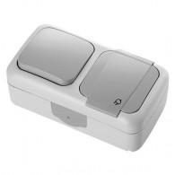 Блок накладной горизонтальный: выключатель 1 клавиша + розетка с крышкой Viko Palmiye серый 90555581