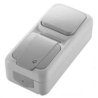 Блок накладной вертикальный: выключатель 1 клавиша + розетка с крышкой Viko Palmiye серый 90555781