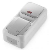 Блок накладной вертикальный: выключатель 1 клавиша с подсветкой + розетка с крышкой Viko Palmiye серый 90555794
