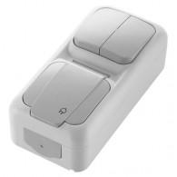 Блок накладной вертикальный: выключатель 2 клавиши + розетка с крышкой Viko Palmiye серый 90555782