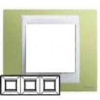 Рамка 3-ая горизонтальная Unica Хамелеон зеленое яблоко/белый MGU6.006.863