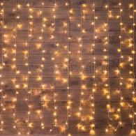 235-036 ДОЖДЬ (занавес) 1,5х1,5 м, прозрачный ПВХ, 144 LED ТЕПЛЫЙ БЕЛЫЙ IP20, не соединяются