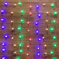 235-049 ДОЖДЬ 1,5*1,5 м, с насадками шарики Ø18мм, прозрачный ПВХ, 144 LED, Мультиколор IP20, не соединяются
