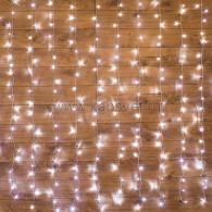 235-055 ДОЖДЬ (занавес) 2,5x2 м, прозрачный ПВХ, 300 LED БЕЛЫЕ IP20, не соединяются