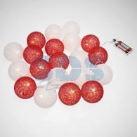 303-088 Тайские фонарики «Магия» 3,5 м, прозрачный ПВХ, 20 LED, теплый белый, питание 2 х АА