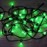 331-324 LED Galaxy Bulb String 10м, черный КАУЧУК, 30 ламп*6 LED ЗЕЛЕНЫЕ