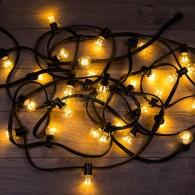 331-326 LED Galaxy Bulb String 10м, черный КАУЧУК, 30 ламп*6 LED ТЕПЛЫЙ БЕЛЫЙ