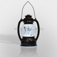 """501-061 Декоративный фонарь с эффектом снегопада и подсветкой """"Снеговики"""", Белый"""