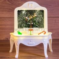 """501-064 Декоративный светильник """"Столик"""" с эффектом снегопада, подсветкой и новогодней мелодией БЕЗ USB провода"""
