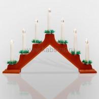 501-082 Новогодняя горка 7 свечек, цвет корпуса: Красный, цвет свечения: ТЕПЛЫЙ БЕЛЫЙ