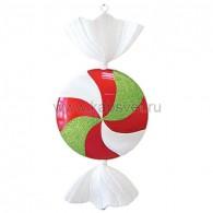 """502-242 Елочная фигура """"Леденец"""", 102 см, цвет белый, красный и зеленый"""