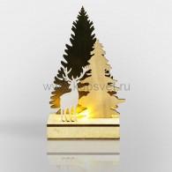 """504-002 Деревянная фигурка с подсветкой """"Елочка с оленем"""" 12*6*21,5 см с М2 - 10%"""