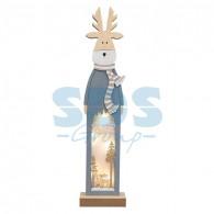 504-007 Деревянная фигурка с подсветкой «Рождественский олень» 11х5х47 см
