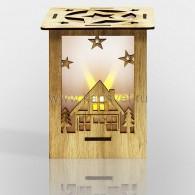 """504-023 Деревянная фигурка с подсветкой """"Волшебный фонарик"""" 13,8*11*11 см с М2 - 10%"""