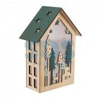 504-024 Деревянная фигурка с подсветкой «Домик в лесу» 19х6х26 см