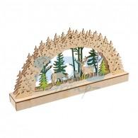 504-026 Деревянная фигурка с подсветкой «Семейство оленей» 30х5х15,7 см