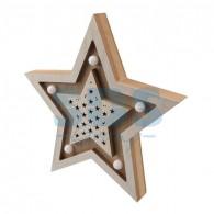 504-027 Деревянная фигура с подсветкой «Звезда двойная» 30х4х30 см