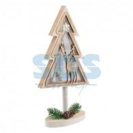 504-028 Деревянная фигурка с подсветкой «Елка на подставке» 14,5х5х30 см