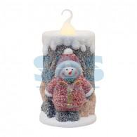 505-016 Керамическая фигурка «Свечка со снеговиком» 10.5х9х17.6 см