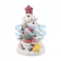 505-027 Керамическая фигурка «Елочка со снеговиком» 7.8х6.9х12.1 см