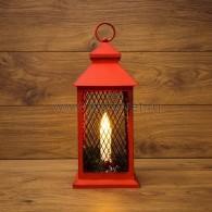 513-041 Декоративный фонарь со свечкой, красный корпус, размер 13.5х13.5х30,5 см, цвет ТЕПЛЫЙ БЕЛЫЙ c М8 - 10%