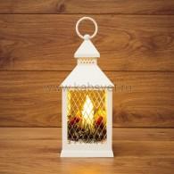 513-042 Декоративный фонарь со свечкой, белый корпус, размер 10.5х10.5х24 см, Теплый Белый c М8 - 10%