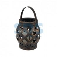 513-055 Декоративный фонарь со свечкой, плетеный корпус, бронза, размер 14х14х16,5 см, цвет теплый белый