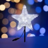 """513-455 Акриловая светодиодная фигура """"Звезда"""" 50см, 160 светодиодов, белая ПАРТИЯ 2018г. без трубы, но с кольцом для подвеса"""