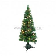 533-226 Новогодняя Ель с шишками 180 см фибро-оптика, Теплый белый цвет шишок, фибро мультиколор