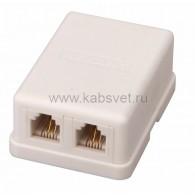 03-0002 Телефонная розетка 2 гн. RJ-11(6P-4C), внешняя (50 шт/уп) Rexant