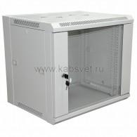 """04-2202 19"""" Настенный шкаф Rexant 12U 600×450×635 мм (ШxГxВ) - передняя дверь стекло, боковые стенки съемные (разобранный) RAL 7035"""