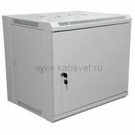 """04-2211 19"""" Настенный шкаф Rexant 9U 600×450×500 мм (ШxГxВ) - передняя дверь металл, боковые стенки съемные (разобранный) RAL 7035"""