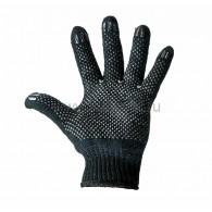 09-0211 Перчатки полушерстяные с покрытием ПВХ («Зима») черные, 7 нитей, 75-77 г