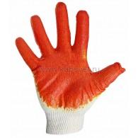 09-0220 Перчатки х/б с одинарным латексным покрытием, 5 нитей, 36 г, 10 класс вязки, красного цвета