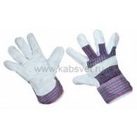 09-0251 Перчатки спилковые (спилок + х/б ткань), кожевенный спилок класса АВ, материал подкладки 100 % х/б