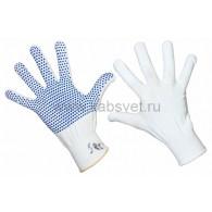 09-0260 Перчатки нейлоновые с частичным покрытием ладони и пальцев «Точка» ПВХ белые